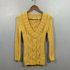 Sleeping On Snow Yellow Cable Knit Sweater Size S
